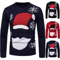 Leuke Gebreide Trui voor Heren met Kerstmanmotief Lange Mouwen en Ronde Hals