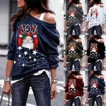 Leuke Sweater met Kerstmanmotief Schuine Schouders en Lange Mouwen