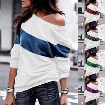 Modern Sweatshirt met Contrasterende Kleuren Lange Mouwen en Ronde Hals