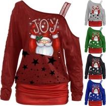 Sexy Sweatshirt met Vrije Schouders Lange Mouwen en Kerstmotief