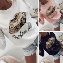 Modern Bedrukt Sweatshirt met Lippen en Luipaardpatroon Lange Mouwen en Ronde Hals(Het valt klein)