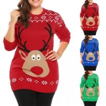 Leuke Sweater met Ronde Hals en Elandmotief
