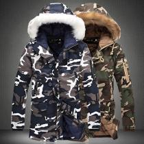 Moderne Gevoerde Jas met Camouflagepatroon en Capuchon met Kunstbont