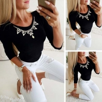 Fashion Solid Color Long Sleeve Round Neck Rhinestone Spliced Top