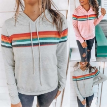 Fashion Colorful Striped Spliced Long Sleeve Hooded Sweatshirt