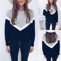Casual Style Contrast Color Long Sleeve Round Neck Sweatshirt