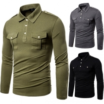 Fashion Solid Color Long Sleeve POLO Collar Man's T-shirt