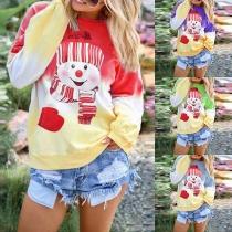 Schattig Sweatshirt met Cartoon Sneeuwpopmotief en Kleurverloop