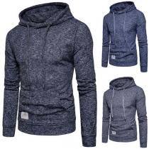 Moderne  Sweater voor Heren met Effen Kleur Lange Mouwen en Capuchon