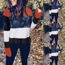 Fashion Contrast Color Long Sleeve Round Neck Printed Sweatshirt