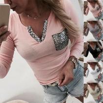 Modern Sweatshirt met Lovertjes V-hals en Lange Mouwen(Het valt klein)