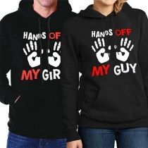 Fashion Letters Printed Long Sleeve Hooded Couple Sweatshirt