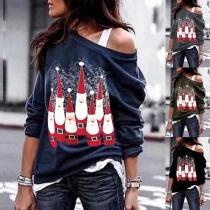 Sexy Oblique Shoulder Long Sleeve Santa Claus Printed Sweatshirt