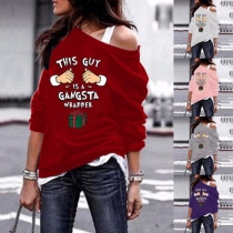 Sexy Oblique Shoulder Long Sleeve Printed Sweatshirt