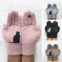 Leuke Gebreide Handschoenen met Kattenmotief