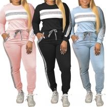Modern Tweedelig Set met Contrasterende Kleuren bestaand uit een Sweatshirt met Ronde Hals + Broek