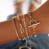 Gouden Armbandset in retrostijl met Ingelegd Strass  5 Stuks/Set