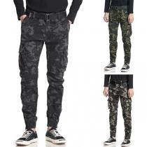 Moderne Broek voor Heren met Camouflagepatroon en Zijzakken