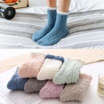 Moderne Warme Pluchen Sokken met Contrasterende Kleuren 2 Paar/Set