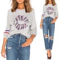 Moderne Sweater met Kleurrijk Lippenmotief Lange Mouwen en Ronde Hals