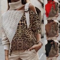 Sexy Sweater met Een Vrije Schouder Lange Mouwen Rolkraag en Luipaardpatroon