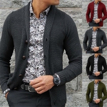Moderne Gebreide Vest voor Heren met Lange Mouwen en Knoppen