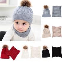 Leuke Gebreide Muts en Sjaal voor Baby's met Pompon