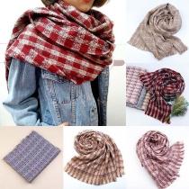 Moderne Geruite Sjaal met Kwastjes