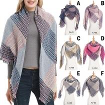 Moderne Geruite Sjaal met Contrasterende Kleuren