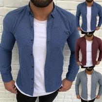 Modern Hemd voor Heren met Effen Kleur Polokraag en Lange Mouwen