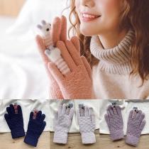 Schattige Gebreide Handschoenen met Cartoonontwerp en Contrasterende Kleuren