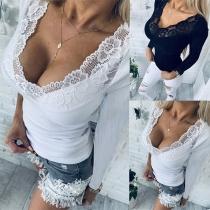 Sexy Topje met Slanke Pasvorm V-hals Kanten Ontwerp en Lange Mouwen