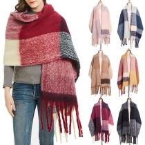 Modern Grote Geruite Sjaal met Franjes