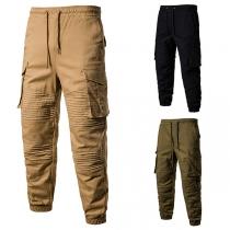 Moderne Broek voor Heren met Effen Kleur Zijzakken en Elastische Taille