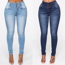 Moderne Strakke Jeans met Hoge Taille