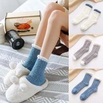 Moderne Pluchen Sokken met Contrasterende Kleuren 2 Paar/Set