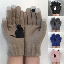 Moderne Gebreide Handschoenen met Contrasterende Kleuren en Kattenmotief