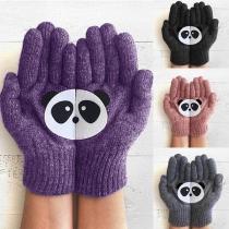 Schattig Gebreide Handschoenen met Cartoon Pandamotief