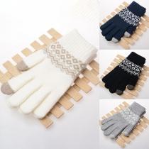 Moderne Gebreide Handschoenen in Contrasterende Kleuren