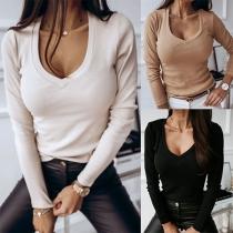 Modern Sweatshirt met Effen Kleur Lange Mouwen en V-hals