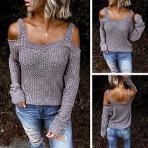 Sexy Sweater met Vrije Schouders Lange Mouwen Effen Kleur en Dragers