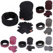 Modern Driedelig Set bestaand uit een Gebreide Muts + Oneindige Sjaal + Handschoenen