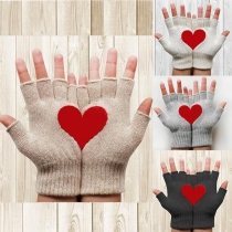 Modern Gebreide Handschoenen met Hartmotief en Halve Vingers
