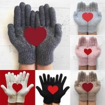 Moderne Gebreide Handschoenen met Hartmotief