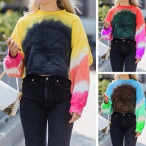 Modern Sweatshirt met Kleurverloop Lange Mouwen en Ronde Hals