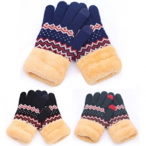 Moderne Gebreide Handschoenen met Contrasterende Kleuren en Voering