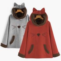 Leuke Hoodie met Kattenmotief Pluchen Voering Lange Mouwen en Capuchon met Kattenoren