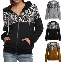 Moderne Hoodie met Luipaard patroon Capuchon en Lange Mouwen