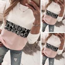 Moderne Shirt met Contrasterende Kleuren Lovertjes Lange Mouwen en Ronde Hals