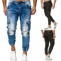 Moderne Jeans met Middelhoge Taille en Zijzakken